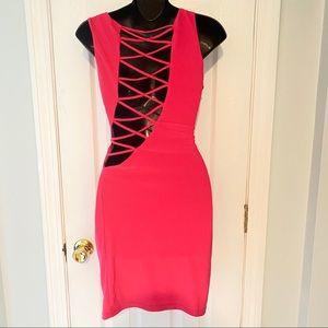 Bright Pink Open Cross Back Dress